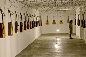 chords tunnel #1 40 acoustic guitars, cable and motors Netwerk / Center for contemporary art, Aalst, Belgium. 2014 (current exhibition 07.12 2014 - 06.03 2015 + INFO)